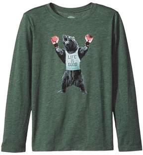 Life is Good Boxing Bear Long Sleeve Cool Tee Boy's T Shirt