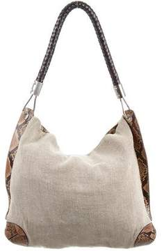 Michael Kors Snakeskin-Accented Canvas Hobo - BROWN - STYLE