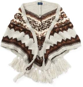 Polo Ralph Lauren | Beaded Triangle Wool Scarf | Tan multi