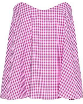 Caroline Constas Strapless Gingham Cotton-Poplin Top