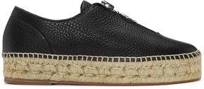 Alexander Wang Black Leather Zip-Up Devon Espadrilles