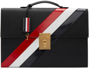 Thom Browne Black Diagonal Stripe Lock Briefcase