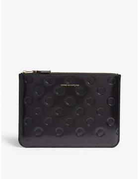 Comme des Garcons Black Polka Dot Patent Leather Clutch Bag