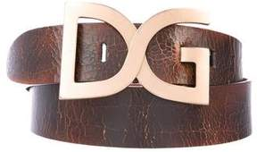 Dolce & Gabbana Distressed Logo Leather Belt