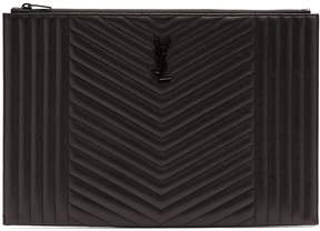 Saint Laurent Logo-plaque quilted-leather document holder