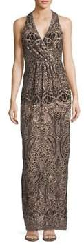Betsy & Adam Sequin Pleated Sleeveless Dress
