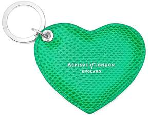 Aspinal of London | Heart Key Ring In Grass Green Lizard | Grass green lizard