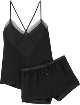 Calvin Klein Underwear Endearment Tulle-trimmed Textured-voile Pajama Set - Black
