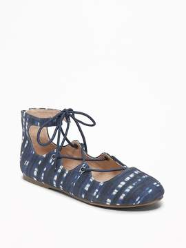 Old Navy Printed Indigo Lace-Up Flats for Girls