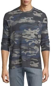 Robert Graham Triton Linen-Blend Long-Sleeve Camo T-Shirt