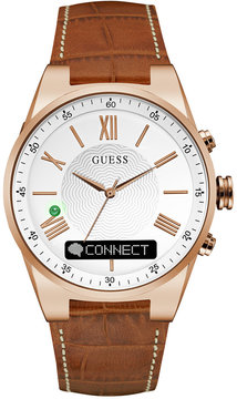 GUESS Men's Connect Brown Leather Strap Smart Watch 45mm C0002MB4