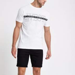 River Island Mens White 'West' short sleeve slim fit T-shirt
