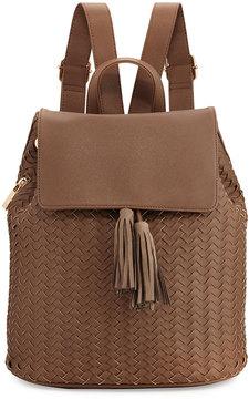 Neiman Marcus Woven Saffiano Tassel Backpack, Khaki