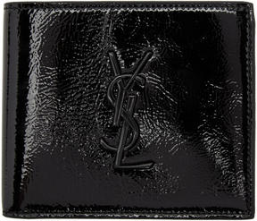 Saint Laurent Black Patent Monogram East West Wallet