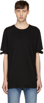 Helmut Lang Black Standard Fit Cut Hem T-Shirt