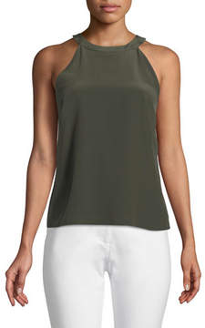 Badgley Mischka Silk Slipover Halter Top