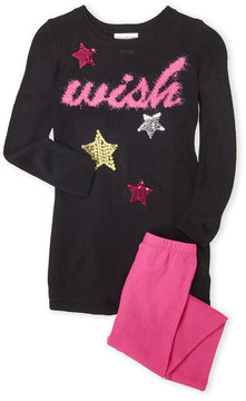 Flapdoodles Toddler Girls) Two-Piece Wish Sequin Sweater Dress & Leggings Set