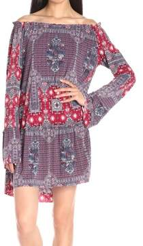 BCBGeneration Women's Shirred Bell-Sleeves Print Dress