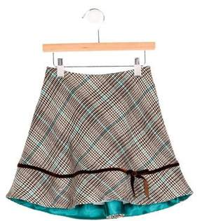 Helena Girls' Bow-Accented Tweed Skirt w/ Tags