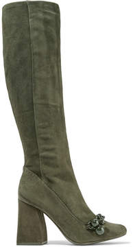 Tory Burch Addison Chain-trimmed Suede Knee Boots - Army green