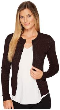 Ellen Tracy Metallic Pointelle Cardigan Women's Sweater