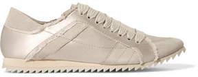 Pedro Garcia Cristina Frayed Suede-trimmed Satin Sneakers - Ecru