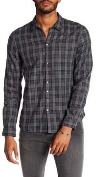 John Varvatos Plaid Print Snap Button Slim Fit Shirt
