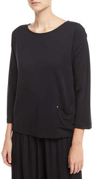 Joan Vass Mixed-Media Pullover w/ Pocket Detail