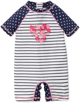 Little Me Striped & Dot-Print Rash Guard Swimsuit, Baby Girls
