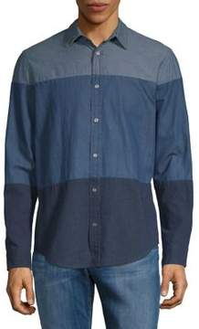 Calvin Klein Jeans Colorblock Chambray Button-Down Shirt