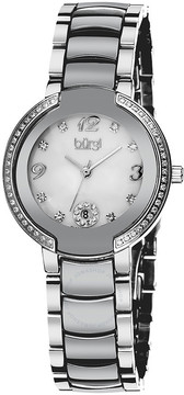 Burgi Mother of Pearl Dial Silver-tone Ceramic and Stainless Steel Ladies Watch