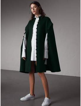 Burberry Domed Button Camel Hair Wool Cape
