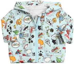 Space Printed Hooded Cotton Sweatshirt