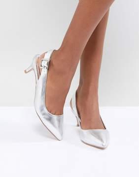 Faith Kitten Heel Shoe in Silver Metallic