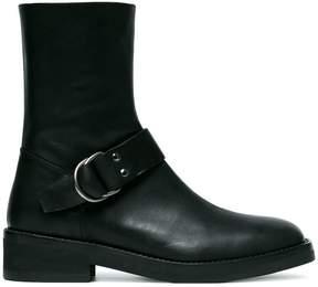 Ann Demeulemeester Black Buckle Leather Biker Boots