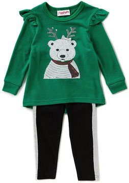 Flapdoodles Little Girls 2T-6X Christmas Polar Bear Tunic & Leggings Set