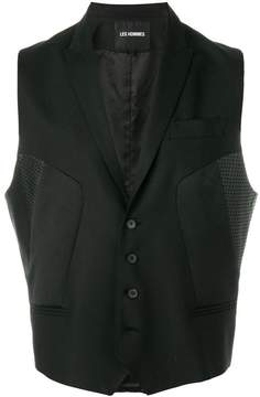 Les Hommes perforated patch waistcoat