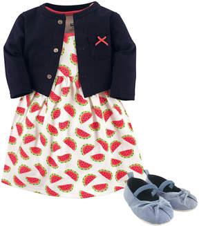Hudson Baby Blue & Red Watermelon Dress Set - Newborn & Infant