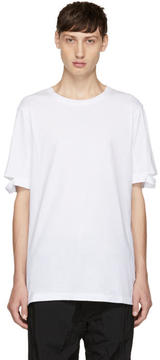 Helmut Lang White Standard Fit Cut Hem T-Shirt