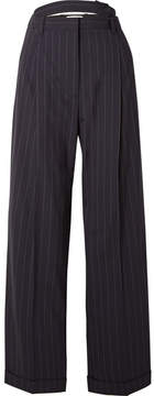 3.1 Phillip Lim Belted Cutout Pinstriped Wool-blend Pants - Midnight blue