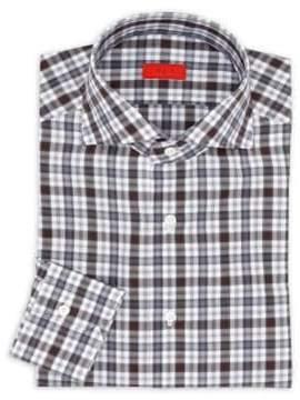 Isaia Checkered Cotton Regular-Fit Dress Shirt