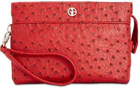 Giani Bernini Embossed Faux Ostrich Crossbody Wallet