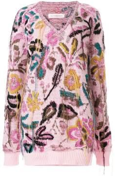 A.F.Vandevorst V-neck embroidered knitted top