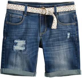 Mudd Girls 7-16 & Plus Size Belted Denim Bermuda Shorts