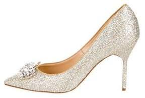 Marchesa Glitter Jewel-Embellished Pumps w/ Tags