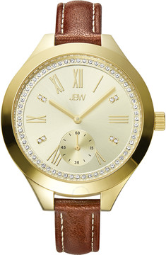 JBW Aria Gold-tone Case Gold-tone Diamond Dial Brown Calfskin Leather Strap Ladies Watch