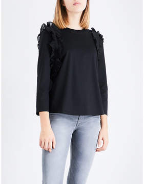 Claudie Pierlot Ruffle-trim cotton-jersey top