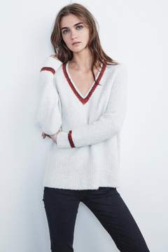 Velvet by Graham & Spencer SIMONA PLUSH BOUCLE V-NECK SWEATER