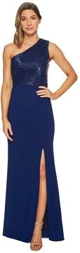 Adrianna Papell One Shoulder Sequin Bodice Gown Women's Dress
