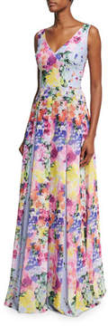 David Meister Sleeveless Floral Pleated Evening Gown, Lavender/Multicolor
